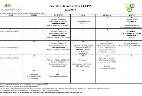 Calendrier d'activités – juin 2016