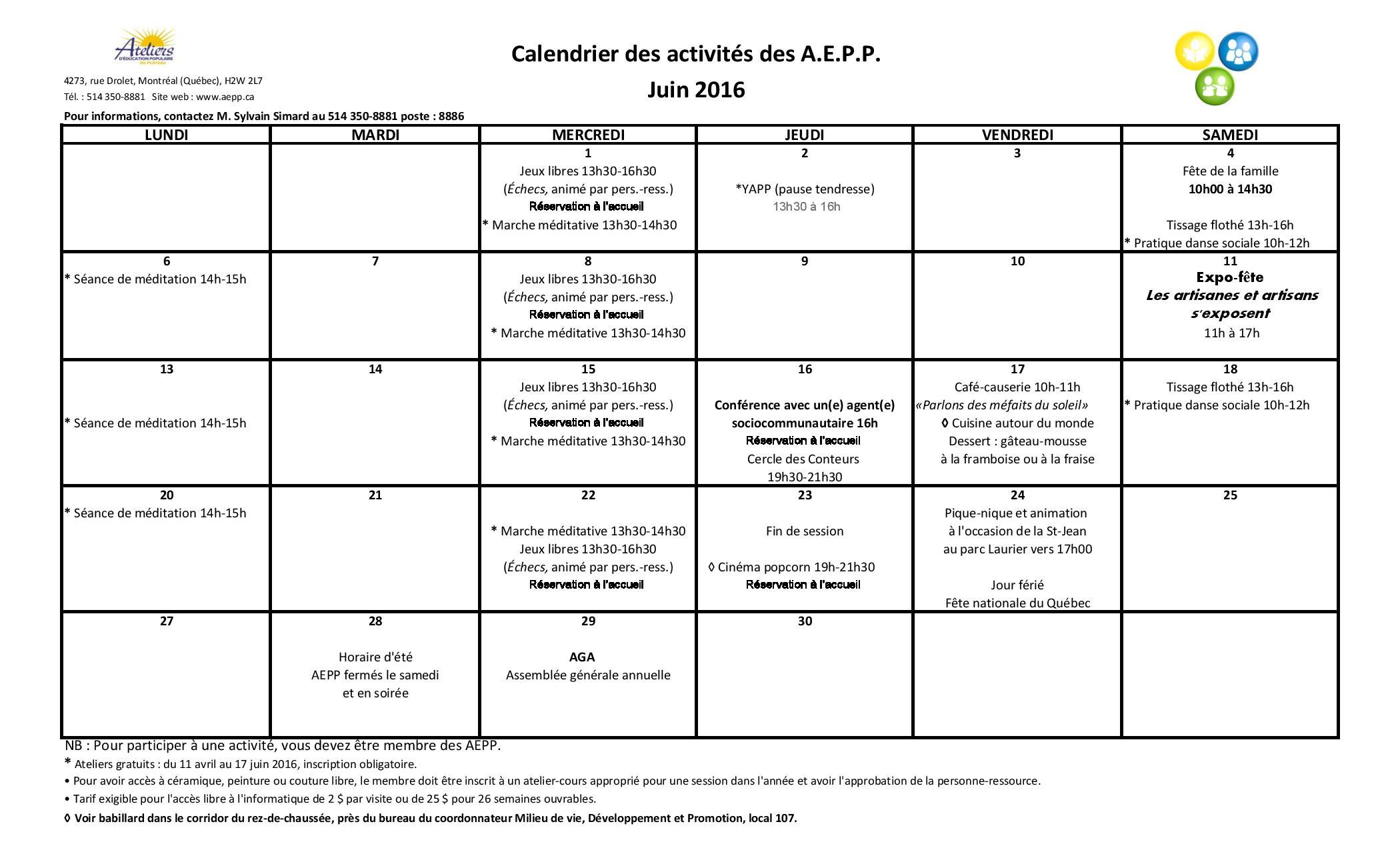Calendrier d'activités – Septembre 2016 Copy Copy
