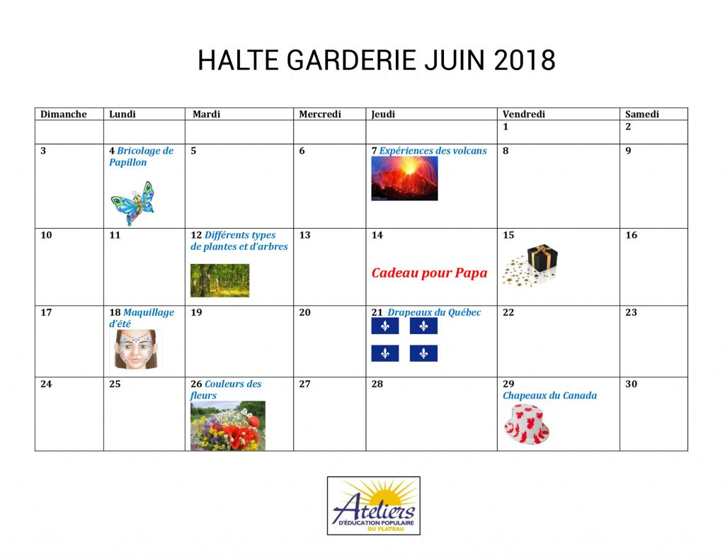 Calendrier Halte-garderie, juin 2018