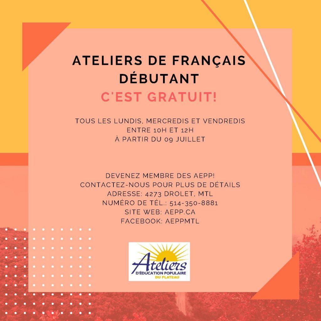 Ateliers de français débutant gratuits